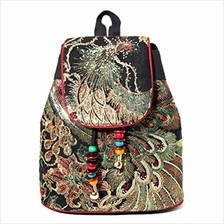 (FROM USA) Vintage Phoenix Sequins Embroideried Women Backpack Daypack Travel