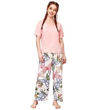 (FROM USA) WDIRARA Women's Sleepwear Short Sleeve Tee and Floral Print Pants P