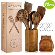 (FROM USA) Wooden Utensils for Cooking Set with Holder, Natural Nonstick Teak