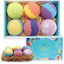 US. Bath Bombs Gift Set 6pcs X 4oz Fizzies with Natural Essential Oils and Ric