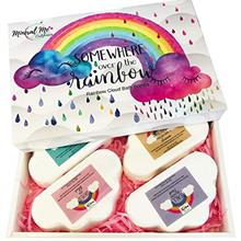 US. Rainbow Bath Bomb Gift Set - 4 Large 5oz Bath Bombs for Women w/Moisturizi