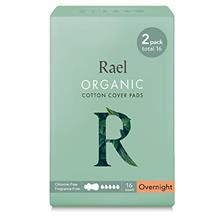 >...<7 Rael Organic Cotton Sanitary Pads - Overnight Size, Heavy Absorbency, U