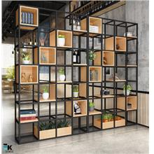 Iron Solid Wood Bookshelf Partition Display Rack (1 mth pre-order)