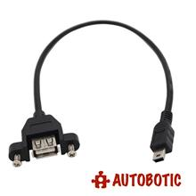 USB Extension Cable - Type A Female to Type Mini B Male (Panel Mount)