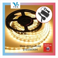 5Meter DC12V Warm White LED Strip Light With Power Adapter+3M Sticker