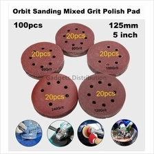 100pcs 5 inch 125mm 8holes Orbit Sanding Disc Paper 60-240 Grit 2364.1