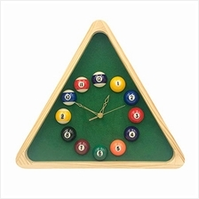 ..// Yuanhe 13 Inch Billiard Quartz Clock with Solid Wood Frame Creative Wall