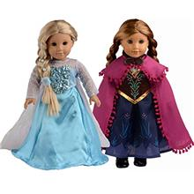 US. sweet dolly Elsa and Anna Princess Costumes for 18 Inch American Girl Doll