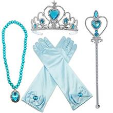 US. Alead Elsa Princess Dress Up Accessories Gloves Bow Tiara Crown Wand Neckl