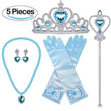 US. Bonallo Princess Dress Up Accessories Gift Set For Elsa Crown Scepter Neck