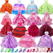US. 15 Pack Handmade Doll Clothes Dress  & 15 Pairs Doll Shoes for Barbie Doll