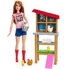 US. Barbie Chicken Farmer Doll, Red-Haired, and Playset with Henhouse and Acce