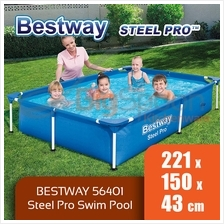 BIGSPOON BESTWAY 56401 STEEL PRO 221 x 150 x 43cm Frame Swimming Pool