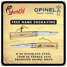 Opinel N °08 Tour de France 2020 Engraved Stainless Steel Knife (Free Nam