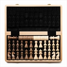 "US. A &A 15 "" Folding Wooden Chess  & Checkers Set (2 in 1) w/ 3 "" K"