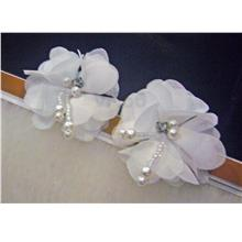 Fabric Flower Earrings Handmade Nylon White Floral Jewelry Pearl Stone