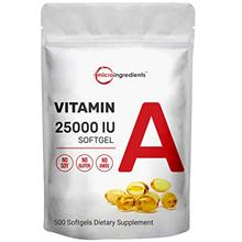 US. Micro Ingredients Vitamin A 25000 IU, 500 Softgels, Immune Vitamins, Stron