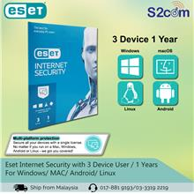 Eset Internet Security with 3 Device User / 1 Years For Windows/ MAC/
