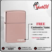 Zippo 49190ZL High Polish Rose Gold Zippo Logo with Free Name Engraving