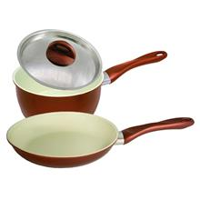 [Set of 2] Ceramic Coating Frying Pan 20cm + Sauce Pan 18cm Set