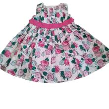 Baby infant girl cotton rose puffy dress summer flowers dress
