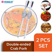 BIGSPOON HOMSUIT KT08812 2-Pcs Set Stainless Steel 2-Ended Crab Tool