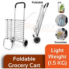 BIGSPOON ST08885 Lightweight Foldable Shopping Grocery Cart Trolley