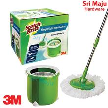 MAJU 3M Scotch Brite Single Spin Mop Bucket Set Compact Size Space