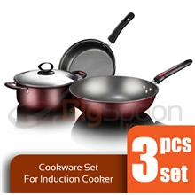 BIGSPOON CS00082 3-Pcs Non-Stick Cookware Set for Induction Cooker