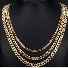 MEN 18k Real Gold Plated Heavy Long Lasting 3.5/5/7mm MIAMI CUBAN LINK CHAIN