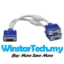 15Pin VGA Male to Dual 2 VGA Female Y Adapter Splitter Cable Monitor