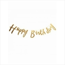 Happy Birthday Metallic Gold Cursive Banner Birthday Celebration