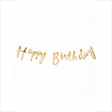 Happy Birthday Metallic Rose Gold Cursive Banner Birthday Celebration