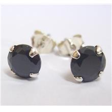 925 Sterling Silver Earrings Studs CZ Black Round 6mm