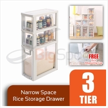 BIGSPOON SS00057 3-Tier High Quality Narrow Space Saver Rice Storage