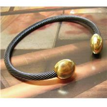Stainless Steel Magnetic Bracelet Bangle Armband Cuff Black Gold Cap