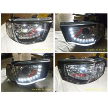 DEPO Mitsubishi Triton '06 LED DRL R8 Projector Head Lamp Chrome