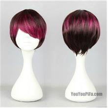 Cosplay men wig t9/ready stock/rambut palsu/black pinky red