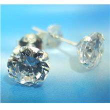 925 Sterling Silver Earrings Studs Solitaire Round CZ Cubic Zirconia 6