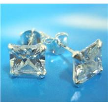 925 Sterling Silver Earrings Studs Square CZ Cubic Zirconia 6mm