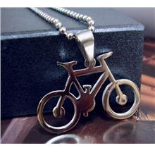 Bicycle Stainless Steel Pendant Chain Tag Necklace Bike