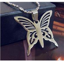 Butterfly Stainless Steel Pendant Chain Necklace Tag Insect AX