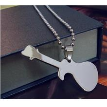 Guitar Folk Classic Music Motif HipHop Stainless Steel Pendant Chain