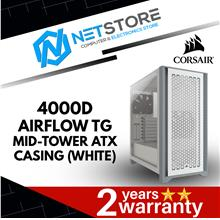 CORSAIR 4000D AIRFLOW TG MID-TOWER ATX CASING (WHITE) - CC-9011201-WW