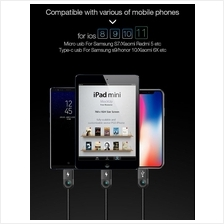 3 in 1 Micro USB Type-C 8 Pin Handphone Charging Cable