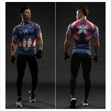3D Marvel Men Sport Fitness Ironman Short Sleeve T-shirt Quick Dry