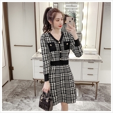 French Retro Houndstooth Long Sleeve A-Line Knit Dress