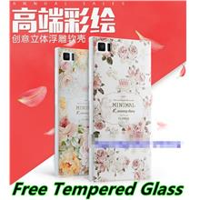 Xiaomi Mi 3 Mi3 3D Relief TPU Soft Case Cover Casing + Tempered Glass