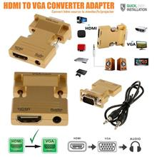 HDMI Female to VGA Male Converter + Audio Adapter Support hdtv-vga