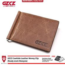GZCZ Genuine Cowhide Leather Money Clip Wallet Men Casual Italy